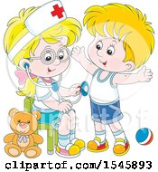 Clipart Of A Blond White Girl Playing Nurse With A Boy Royalty Free Vector Illustration