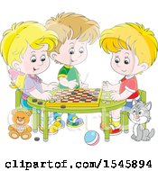 Clipart Of A Cat Watching A Group Of Kids Play Checkers At A Table Royalty Free Vector Illustration