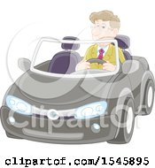 Clipart Of A Happy Caucasian Man Driving A Convertible Car Royalty Free Vector Illustration