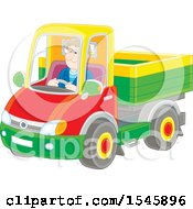 Clipart Of A Caucasian Man Driving A Pickup Truck Royalty Free Vector Illustration