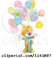 Clipart Of A Clown With Birthday Party Balloons Royalty Free Vector Illustration