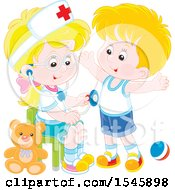 Blond Caucasian Girl Playing Nurse With A Boy