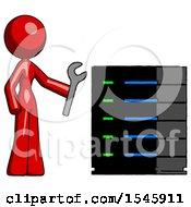 Red Design Mascot Woman Server Administrator Doing Repairs