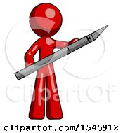 Red Design Mascot Man Holding Large Scalpel