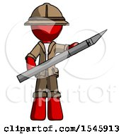 Red Explorer Ranger Man Holding Large Scalpel