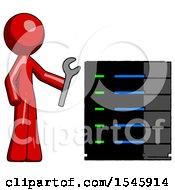 Red Design Mascot Man Server Administrator Doing Repairs