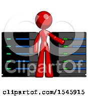 Red Design Mascot Woman With Server Racks In Front Of Two Networked Systems