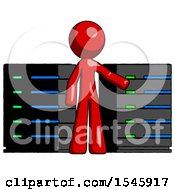 Red Design Mascot Man With Server Racks In Front Of Two Networked Systems