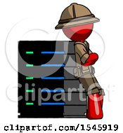 Red Explorer Ranger Man Resting Against Server Rack Viewed At Angle