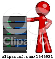 Red Design Mascot Man With Server Rack Leaning Confidently Against It