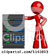 Red Design Mascot Woman With Server Rack Leaning Confidently Against It