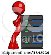 Red Design Mascot Woman Resting Against Server Rack