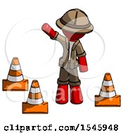 Red Explorer Ranger Man Standing By Traffic Cones Waving