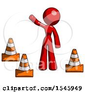 Red Design Mascot Woman Standing By Traffic Cones Waving
