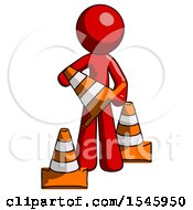 Red Design Mascot Man Holding A Traffic Cone