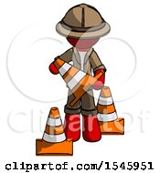 Red Explorer Ranger Man Holding A Traffic Cone