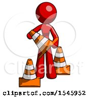Red Design Mascot Woman Holding A Traffic Cone