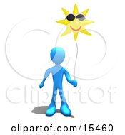 Blue Person Holding A Sun Balloon That Is Wearing Sunglasses