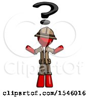 Red Explorer Ranger Man With Question Mark Above Head Confused