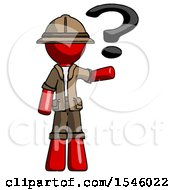 Red Explorer Ranger Man Holding Question Mark To Right
