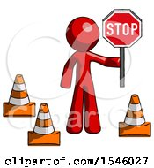 Red Design Mascot Man Holding Stop Sign By Traffic Cones Under Construction Concept