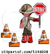 Red Explorer Ranger Man Holding Stop Sign By Traffic Cones Under Construction Concept