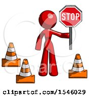 Red Design Mascot Woman Holding Stop Sign By Traffic Cones Under Construction Concept