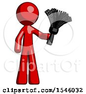 Red Design Mascot Man Holding Feather Duster Facing Forward