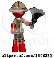 Red Explorer Ranger Man Holding Feather Duster Facing Forward