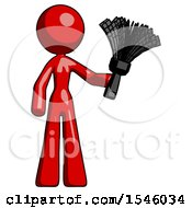 Red Design Mascot Woman Holding Feather Duster Facing Forward