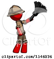 Red Explorer Ranger Man Dusting With Feather Duster Upwards