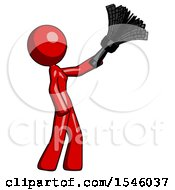 Red Design Mascot Woman Dusting With Feather Duster Upwards