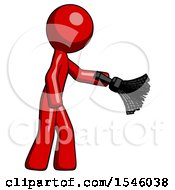 Red Design Mascot Man Dusting With Feather Duster Downwards