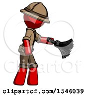 Red Explorer Ranger Man Dusting With Feather Duster Downwards
