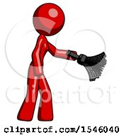 Red Design Mascot Woman Dusting With Feather Duster Downwards