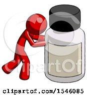 Red Design Mascot Man Pushing Large Medicine Bottle