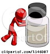 Red Design Mascot Woman Pushing Large Medicine Bottle