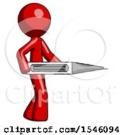 Red Design Mascot Man Walking With Large Thermometer
