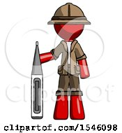 Red Explorer Ranger Man Standing With Large Thermometer