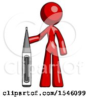 Red Design Mascot Woman Standing With Large Thermometer