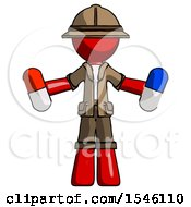 Red Explorer Ranger Man Holding A Red Pill And Blue Pill