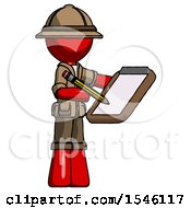 Red Explorer Ranger Man Using Clipboard And Pencil