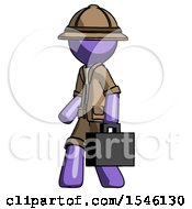 Purple Explorer Ranger Man Walking With Briefcase To The Left