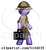 Purple Explorer Ranger Man Walking With Briefcase To The Right