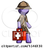 Purple Explorer Ranger Man Walking With Medical Aid Briefcase To Right