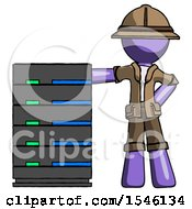 Purple Explorer Ranger Man With Server Rack Leaning Confidently Against It