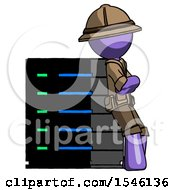Purple Explorer Ranger Man Resting Against Server Rack Viewed At Angle
