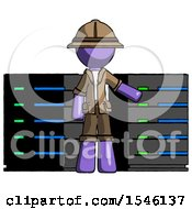 Purple Explorer Ranger Man With Server Racks In Front Of Two Networked Systems