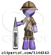 Purple Explorer Ranger Man Standing With Large Thermometer