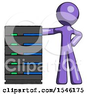 Purple Design Mascot Man With Server Rack Leaning Confidently Against It